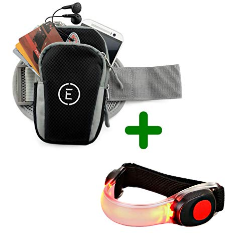 EchelonLine Premium Fitness Armband Handy Hülle Arm Jogging Tasche Rennen Workout Smartphone Laufen Sportarmband Schlüssel Halter für iPhone und Samsung (Schwarz mit Leuchtband)