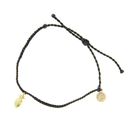 Pura Vida Bitty BB Pineapple Charm Black Bracelet - Gold-Plated Charm, Adjustable Band - 100% Waterproof