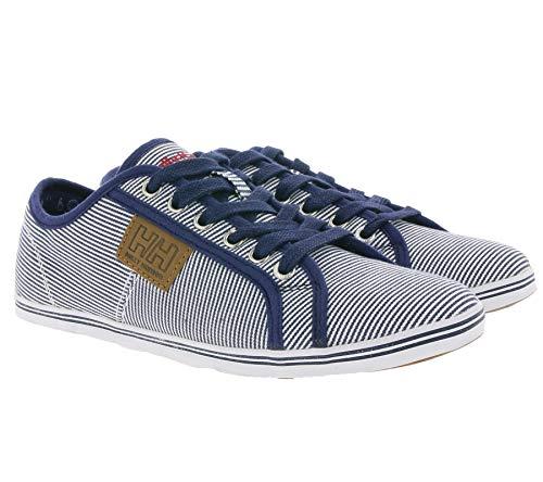 Helly Hansen Low Schuhe gestreifte Damen Sneaker Flora Stripe Freizeit-Schuhe Sommer-Schuhe Blau/Weiß, Größe:37