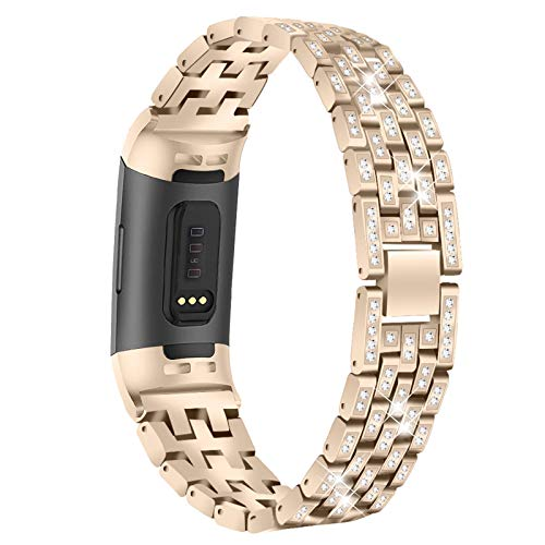 XIALEY Sport Strap Compatible with Fitbit Charge 4/Charge 3, Bands Replacement Wristbands Stainless Steel Rhinestone Metal Strap Jewelry Bracelet for Charge 3/Charge 4,Vintage Gold