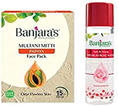 Banjaras Multani Mitti with Papaya Face Pack Powder, 100g & Rose water 120ml COMBO