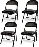 VECELO Lot de 4 Chaise Pliante Rembourée Confortable, Chaise de Cuisine Plable en Métal Chaise Pliable de Salle à Manger Chiase Invité pour Bureau -Noir