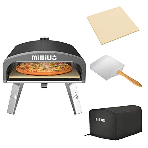 """Mimiuo Portable Gas Pizza Oven with 13"""" Round Pizza Stone & Foldable Pizza Peel for Outdoor Cooking - Finished with Black Coating (Classic G-Oven Series)"""