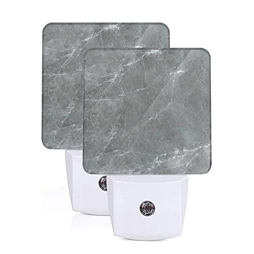 Juego de 2 luces nocturnas LED enchufables con textura de mármol gris y blanco, lámpara con sensor automático de anochecer a amanecer para dormitorio, baño, cocina, pasillo, escaleras