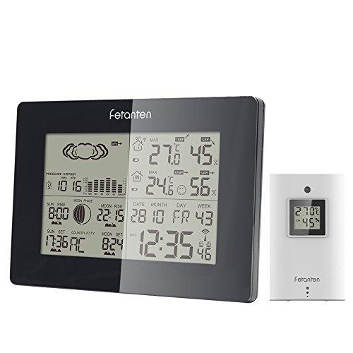 Wetterstation Funk mit Außensensor / Wettervorhersage / Temperatur Luftfeuchtigkeit Mondphase / Sunrise Sunset / Funkuhr | DCF Empfangssignal und Batteriebetrieben