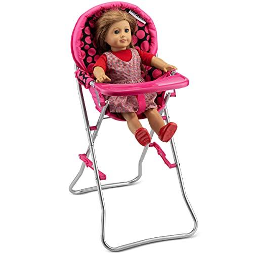 "HUSHLILY Sturdy Doll Lightweight Highchair fits 18"" Dolls - Pink & Black Polka Dots"