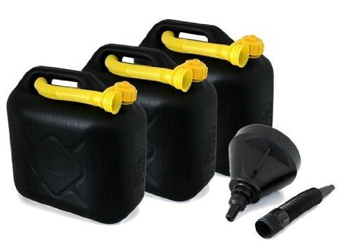 AD Tuning GmbH & Co. KG Kunststoff Kanister, 3er Set, Volumen: je 10 Liter (Lieferung ohne Inhalt) Inkl. Ausgieser - Schnorchel + 1x Trichter.