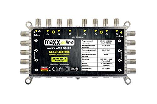 maxx.onLine EMS 98 RP 9 in 8 Multischalter für 2 Satelliten und 8 Teilnehmer, kein Netzteil notwendig, 0 Watt Standby Multiswitch, Quattro LNB kompatibel [Digital, HDTV, FullHD, 4K, UHD]