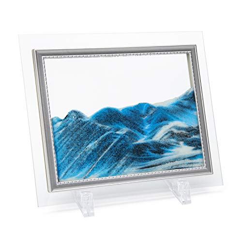 Coitak Moving Sand Art Picture, Sandscape, Moving Desktop Art for Home Decor and Office, Medium Size 9x7'(blue)