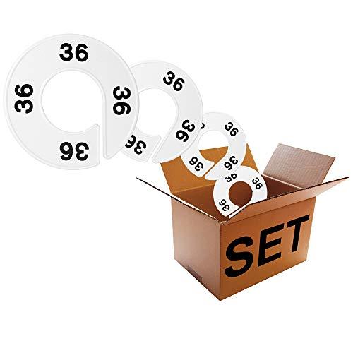 - Der Original Größenfinder: Modell Größenscheiben Baby - Bekleidungsgrößen - Set, 10 Größentrenner/Größenreiter für Größenkennzeichnung auf Kleiderstangen, weiß