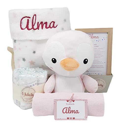 Pingu de Mababy - Canastilla Personalizada Bebé - Regalo para Recién nacido - Cesta de Bebé Personalizada - Set regalo para Bebé (Rosa)