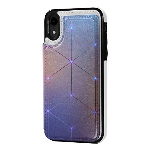 MoMo iPhone XR Caja Ligera de Punto de geometría de Cuero de la Tarjeta de crédito Titular de la Ranura Cubierta Protectora de Cierre Suave