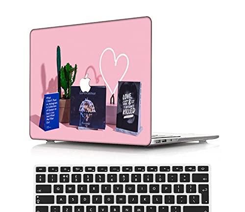 NEWCENT MacBook Pro 15' Funda,Plástico Ultra Delgado Ligero Cáscara Cubierta EU Teclado Cubierta para MacBook Pro 15 Pulgadas con Touch Bar Touch ID(Modelo:A1707/A1990),Serie Rosa 0203