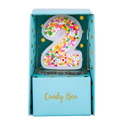 Sweety Colorful Candy Number Cake Topper Candle for Brithday Party Baby Shower and Wedding Party Supplies Favor (Two)