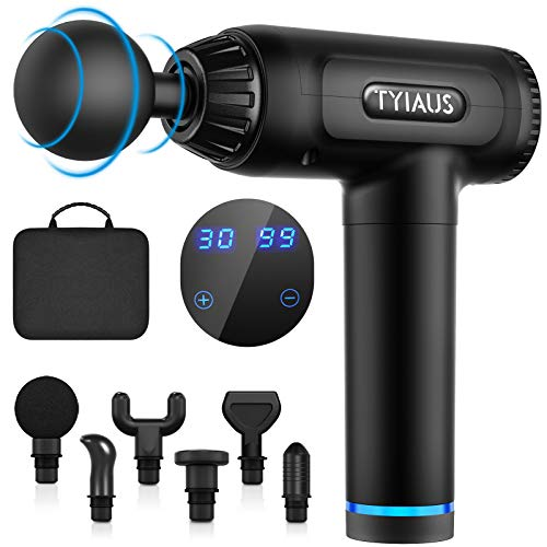 Muscle Massage Gun - TYIAUS Percussion Massager Gun Deep Tissue with 30 Adjustable Speeds and 6 Heads, Portable Body Muscle Massager for Office Gym Home Post-Workout Recovery