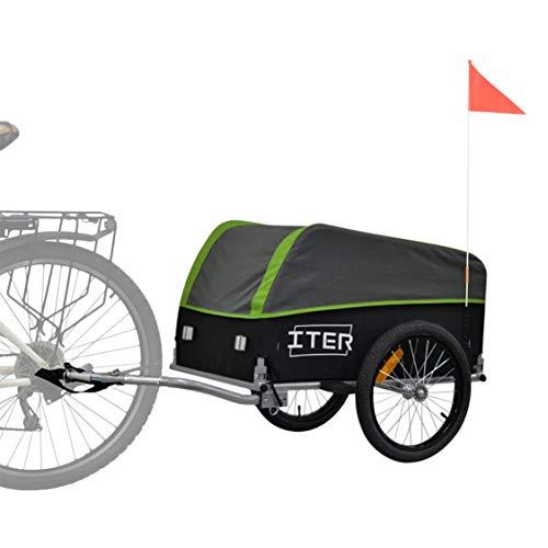 Papilioshop Iter - Remolque para carretilla de bicicleta para transporte de materiales (verde)