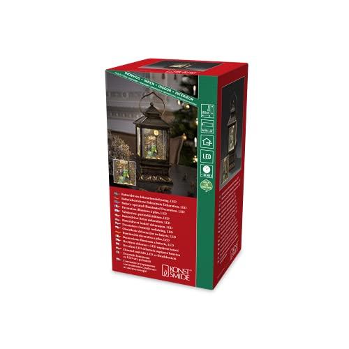 Konstsmide 2809-000 LED Schneelaterne mit Pärchen / für Innen (IP20) / 1 warm weiße Diode / Batteriebetrieben: 3 x AA 1.5V (exkl.)