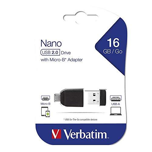 Verbatim Nano Chiavetta USB 16 GB, USB 2.0 con MicroUSB, Velocità Lettura 10 MB/s, Velocità Scrittura 3 MB/s, Nero