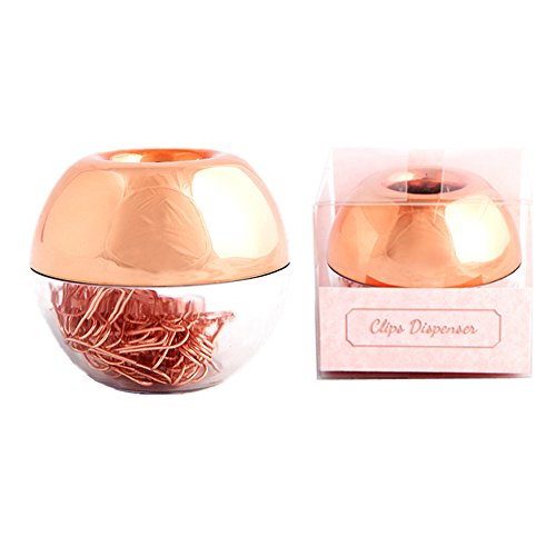 100pcs Rose Gold Paper Clips 28mm in Magnetic Lid Acrylic Paper Clip Holder Dispenser for Office Supplies Desk Organizer