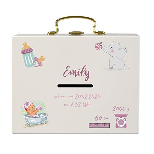 Geldkoffer zur Geburt (Mädchen, weiß): Spardose aus Holz mit Gravur - Geldgeschenk zur Geburt/Taufe, Geschenkidee für Mädchen und Jungs mit Name und Datum graviert