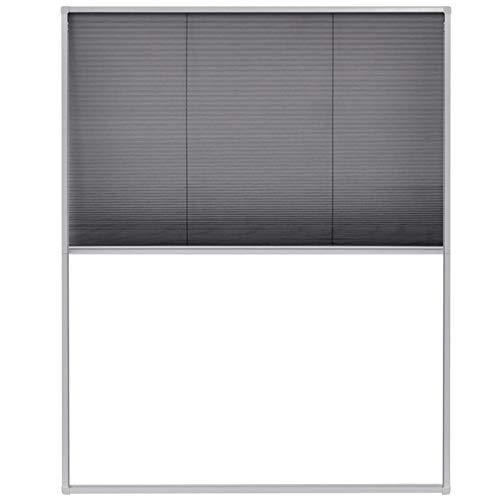 Tidyard Zanzariera Plissettata per Finestra con Tendina Telaio in Alluminio e Rete,120x160 cm,Bianco