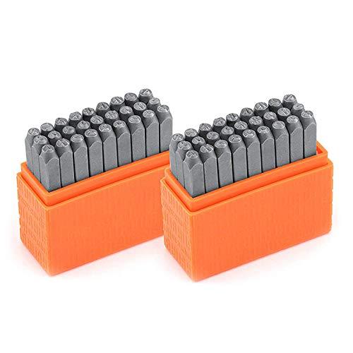 Nrpfell Sellos de Acero Al Carbono en MayúSculas y MinúSculas Conjunto de Punzones de Alfabeto para Estampado de Metal 3MM