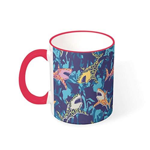 WOSITON Taza de café de tiburón lindo pintura hogar estilo lavavajillas cerámica regalo para Navidad con capacidad 11 oz rojo 1 330ml