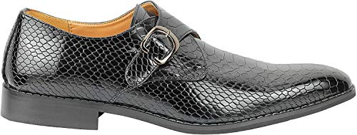 Hombres Retro impresión de Snakeskin Vestido de Boda Informal Zapatos Brillantes del Cuero del holgazán Inteligentes [S32-01A-BLACK-40]