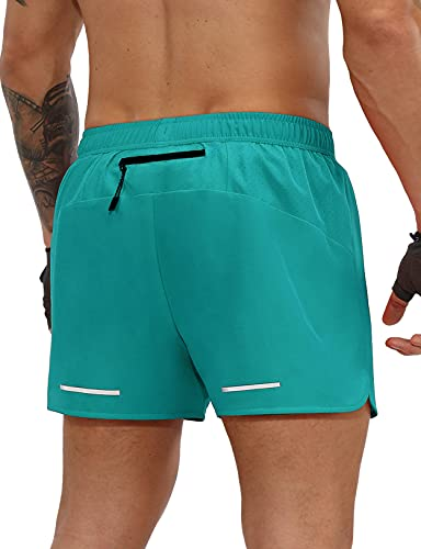 ODODOS Men's 3' Running Shorts with Back Zipper Pocket Quick Dry Lightweight Athletic Workout Gym Shorts, Teal Blue, Medium