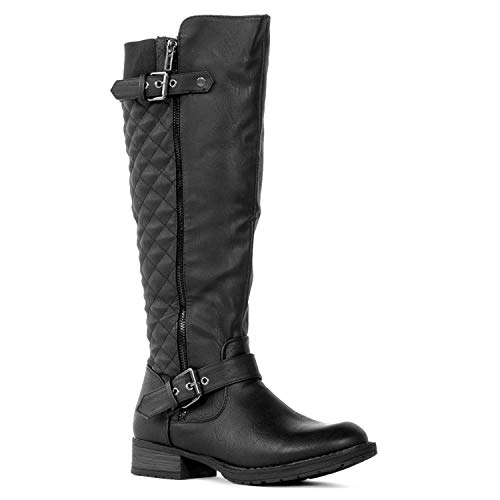 RF ROOM OF FASHION Lady's Regular Calf Knee High Riding Boots (Medium Calf) Black Size.6.5
