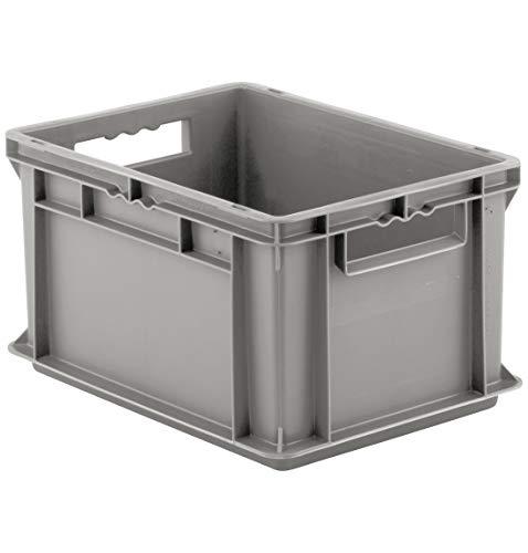 SSI Schäfer EF 4220 Eurokiste Kunststoffbox Transportbox offen ohne Deckel, 400x300 mm, 20,4 l, 15 Kg Tragkraft, Made in Germany, Grau