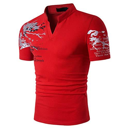 Shirt Casual Hombre Verano Transpirable con Cuello En V Hombre T-Shirt Moda con Estampado Letras Hombre Shirt Cómoda con Cuello Alto Manga Corta Hombre Playa Shirt C-Red S