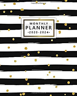 2020-2024 Monthly Planner: Five Year Monthly Agenda & 5 Year Organizer   60 Months Spread View with To-Do's, Inspirational Quotes, Vision Boards, Notes & More   Nifty Lined Print With Golden Confetti