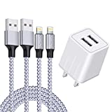 iPhone Charger, YUNSONG Nylon Braided Lightning Cable 2Pack 6ft Data Sync Transfer Cord 2-USB Rapid Charging Plug Wall Charger Compatible with iPhone 11 Pro Max XS XR X 8 7 6S 6 Plus SE 5S (UL Listed)