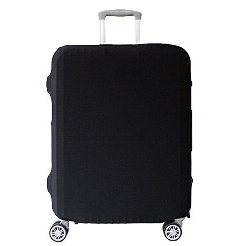 スーツケースカバー キャリーカバー ラゲッジカバー 無地伸縮素材 防水 キズを防止 (S, ブラック)