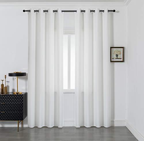 GIRASOLE Par de cortinas semiopacas de color liso para salón, dormitorio, balcón, ventana e interior, 2 paneles con ojales (blanco, 140 x 290 cm)