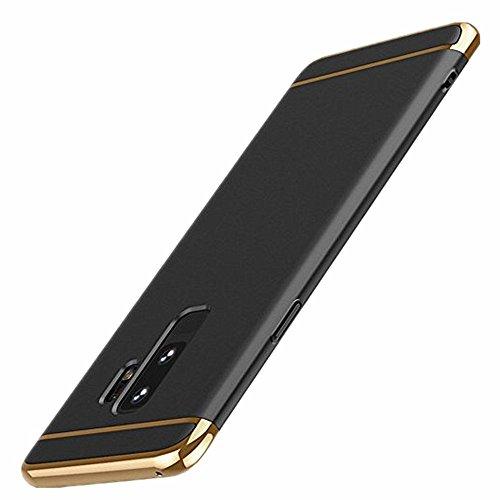 Hülle für Galaxy S9 Plus Hülle 3 in 1 Stoßdämpfer Ultra Dünn Electroplate PC Harte Case mit Bumper Schutz Anti-Kratzer Stoßdämpfende Handy Tasche für Galaxy S9 (Galaxy S9, Schwarz)