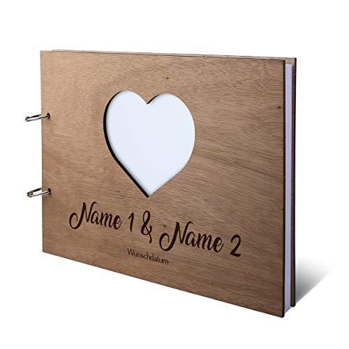 Hochzeit Gästebuch Okoume Holz Gravur individuell Holzcover mit 144 Naturpapier Innenseiten DIN A4 quer 302 x 215 mm - Herz