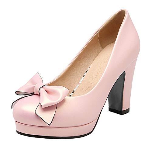 LUXMAX Decolte Donna con Tacco Alto Plateau Scarpe Tacco Largo Blocco Slip-on Fiocco Rockabilly Shoes (Rosa) - 41 EU