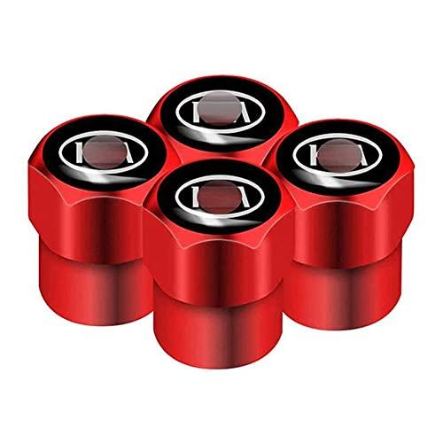 Shj_CN Coche Neumático Aluminio Tapas para válvulas con Logotipo 4 Piezas, para Kia Cerato Venga Cadenza Forte K9 Optima Rio Sorento Sportage