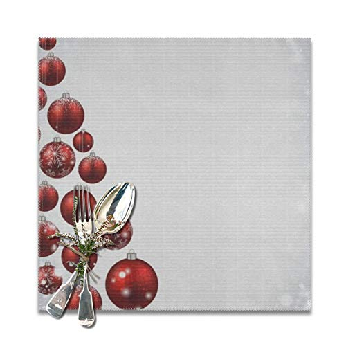 Merry Christmas Red Ball On White Placemats Set of 4 for Dining Table Heat Resistant Table Mat Washable Non Slip Large Fabric Coffee Kitchen Square Plate Mat Personalized Decorative