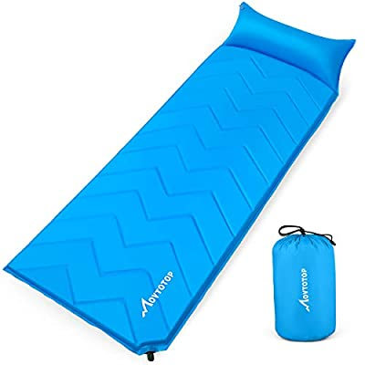 MOVTOTOP Sleeping Pad for Camping,?2020 Newest? Foam Self-Inflating Ultralight Thicken Sleeping Mat with Attached Pillow, Perfect Gear for Hiking, Traveling and Backpacking (Self-Inflating)
