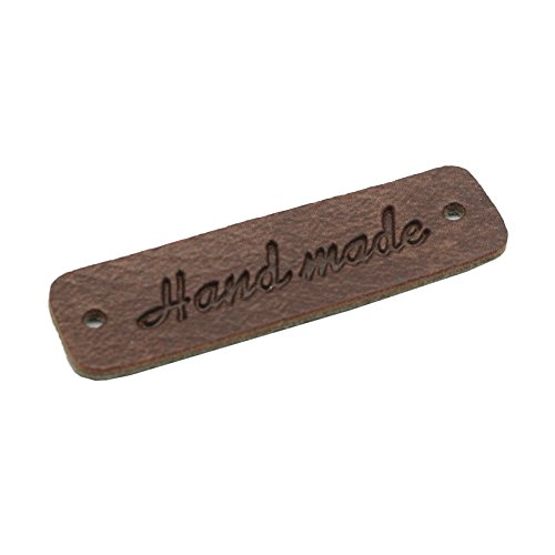 Synthetic Leather Handmade Label 0.5in x 2in (13mm x 45mm) (Dark Brown 10pcs)