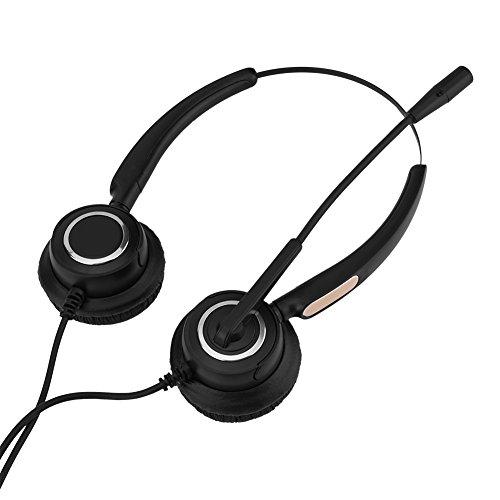 PUSOKEI Auriculares USB, Auriculares de Centro de Llamadas USB con micrófono/Cancelación de Ruido/Sonido Hi-Fi estéreo / 180 ° para orejera giratoria
