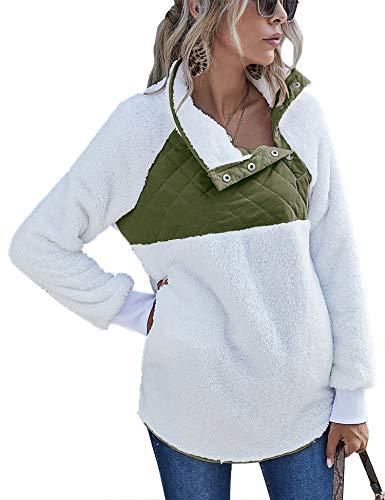 Plus Size Pullover Sweatshirt Woman Cozy Fleece Outwear Oblique Quarter Button Winter Warm Jacket Army Green, XXL