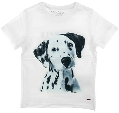 Mayoral Dalmatiner - Camiseta de Manga Corta para niño, diseño de Perro, Color Blanco