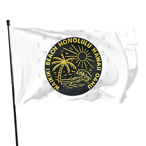 N/ Waikiki Beach Oahu Hawaii Surfen Ocean Surfen Reise Fahne Fahne Fahne Fahne Fahne Fahne 7,6 x 12,7 cm