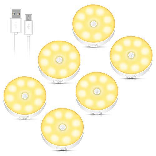 Luz Nocturna con Sensor de Movimiento, Luces Nocturnas con Recargable USB, Auto En/Apagado, Luz Led Armario con Almohadillas Adhesivas e lmán, para Cocina, Pasillo, Escaleras, Habitación Bebé(6 Pack)