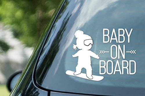 CELYCASY Baby on Board-Schild, Mädchen auf Snowboard, Snowboarding Girl, Vinyl auf Papier, Auto-Aufkleber, Kid on Board