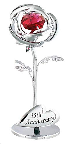 Haysoms Modern 35th Anniversary Silver Plated Flower with Red Swarovski...